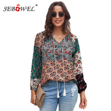 SEBOWEL Woman's Floral Print Long Sleeve Blouse Shirts Autumn Spring Ladies Female Flower Pattern Peasant Blouses Tops S-XXL