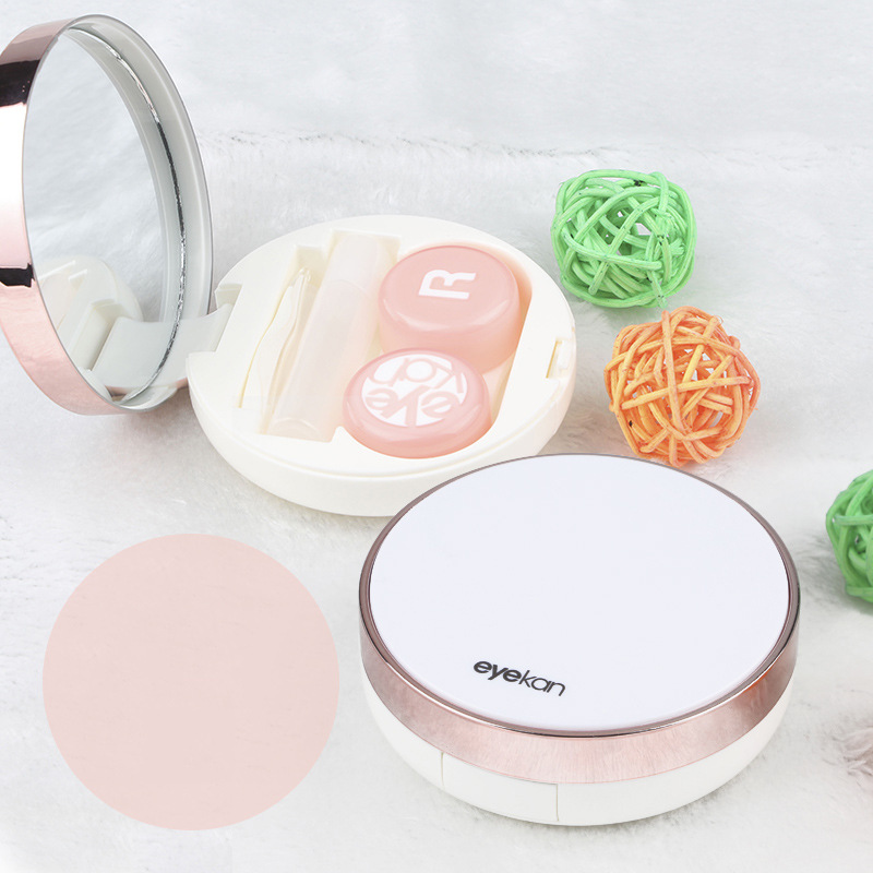 Round Reflective Cover Contact Lens Case Travel Kit Lenses Box With Mirror Stick Tweezers Contact Lens Container Box Accessories