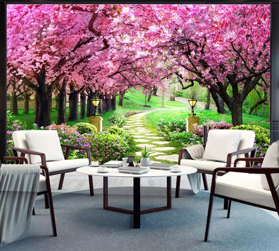 Marvelous Us 14 32 20 Off 3D Custom Photo Modern Romantic Mural Wallpaper For Living Room Cherry Blossom Tree And Small Road Tv Background Home Decoration In Inzonedesignstudio Interior Chair Design Inzonedesignstudiocom