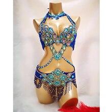 Новинка, Женский костюм для танца живота из бисера с кристаллами, комплект из 3 предметов: бар+ пояс+ ожерелье, сексуальные костюмы для танца живота, одежда для танца живота