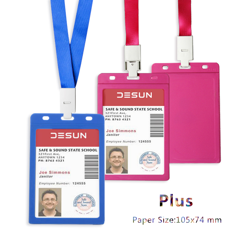 Vertical 105x74mm  Exhibition Card Holder With Original Lanyard For Business/Access/Pass Cards