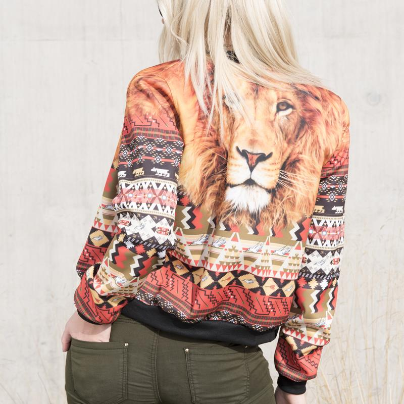 6d8b688a4 US $21.73  Zohra New Fashion Women Bomber Jacket Aztec Peru Lion Printed  Long Sleeve Jackets Short Coats Outwear Basic Jackets-in Basic Jackets from  ...