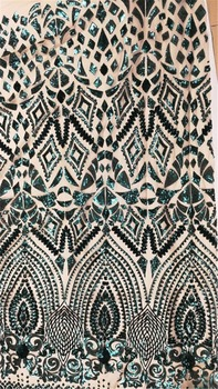 French Net Lace Fabric GREEN Latest african guipure lace fabric with embroidery mesh tulle water green cord Sequins lace fabric
