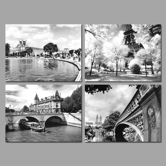Cityscape Black And White Paris Eiffel Tower Decoration Wall Art Pictures Canvas Paintings For Living Room