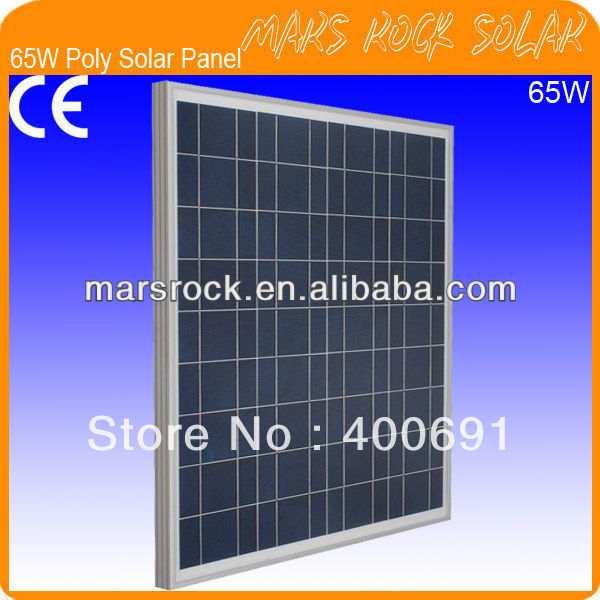 65W 18V Poly Photovoltaic Solar Panel Module with Aluminum Alloy Frame, 3.2mm Tempered Glass, 36 A Grade Solar Cells, Promotion