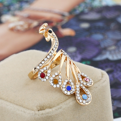 Fashionable rhinestone peacock ring ladies personality alloy ring jewelry in Rings from Jewelry Accessories