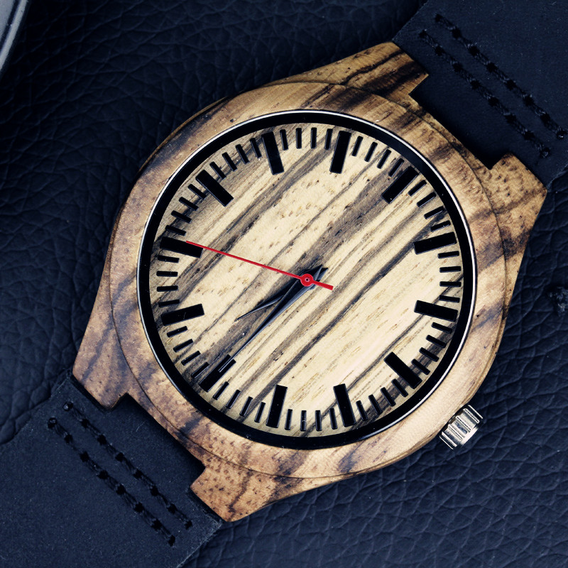 2017 festival Memorial Day gift Enmex natural stripe Bamboo wristwatch work of art handmade natural wood