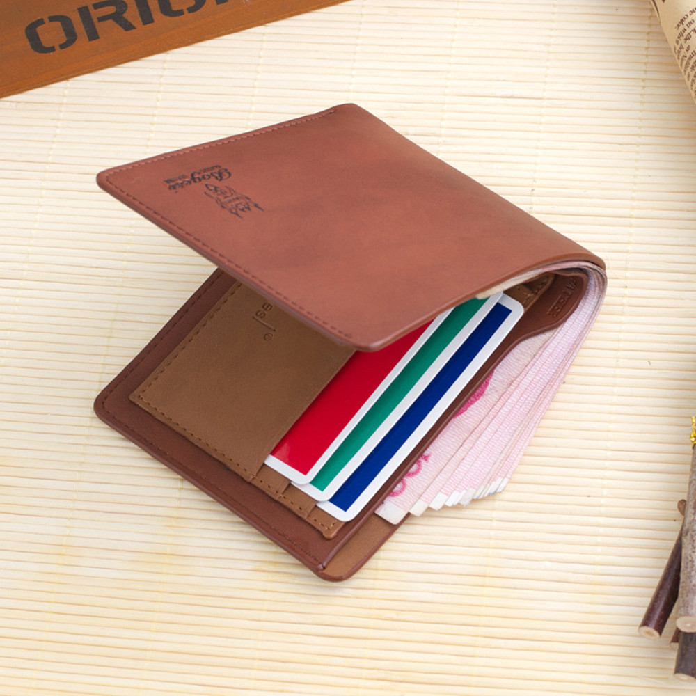 Modern Mens Leather Trifold Wallet Credit//ID Card Coin Holder Purse Slim Wallet