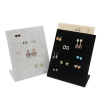 TONVIC Wholesale L Shape Earring Display Stand Holder Jewelry Rack With 60 Holes New Arrival Black/Gray/Yellow Linen