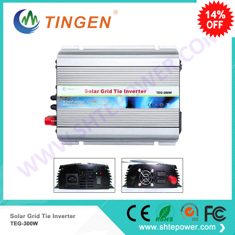 Solar grid on tie inverter 300W convert DC 10.8-28V 12V 24VDC input to AC 90-130V 190-260V output available solar micro inverters ip65 waterproof dc22 50v input to ac output 80 160v 180 260v 300w