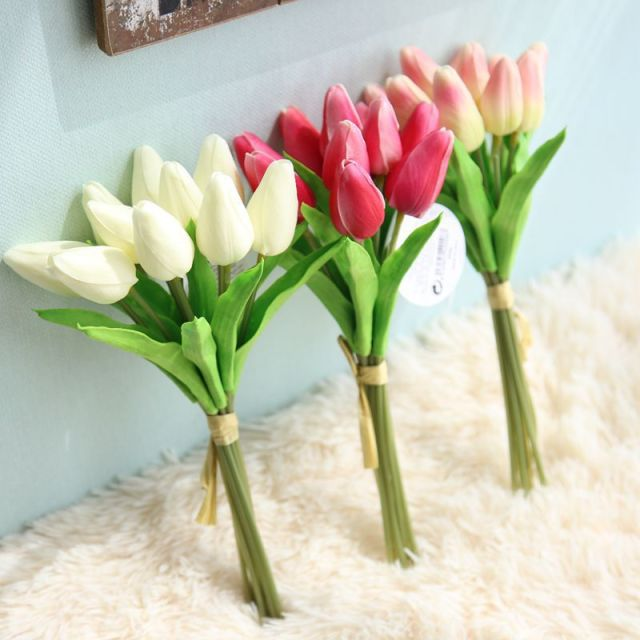 F035 3 Choices Diy Artificial 10 Tulip Head Flower Wedding Bouquet Home Festival Decoration Vase