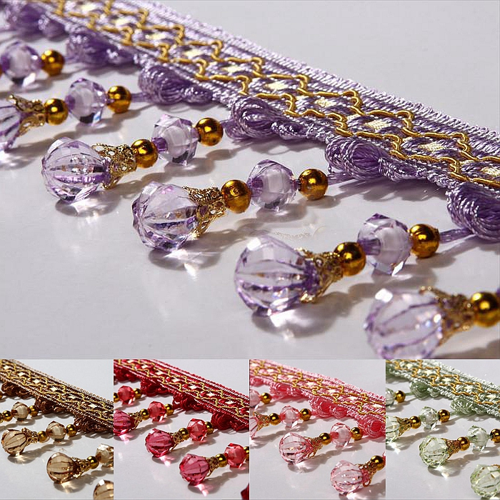 9Colors Curtain Accessories Tassel Fringe Trim Pumpkin Crystal Bead Ribbon For Home Textile Drapery Sewing Decoration 7.5CM