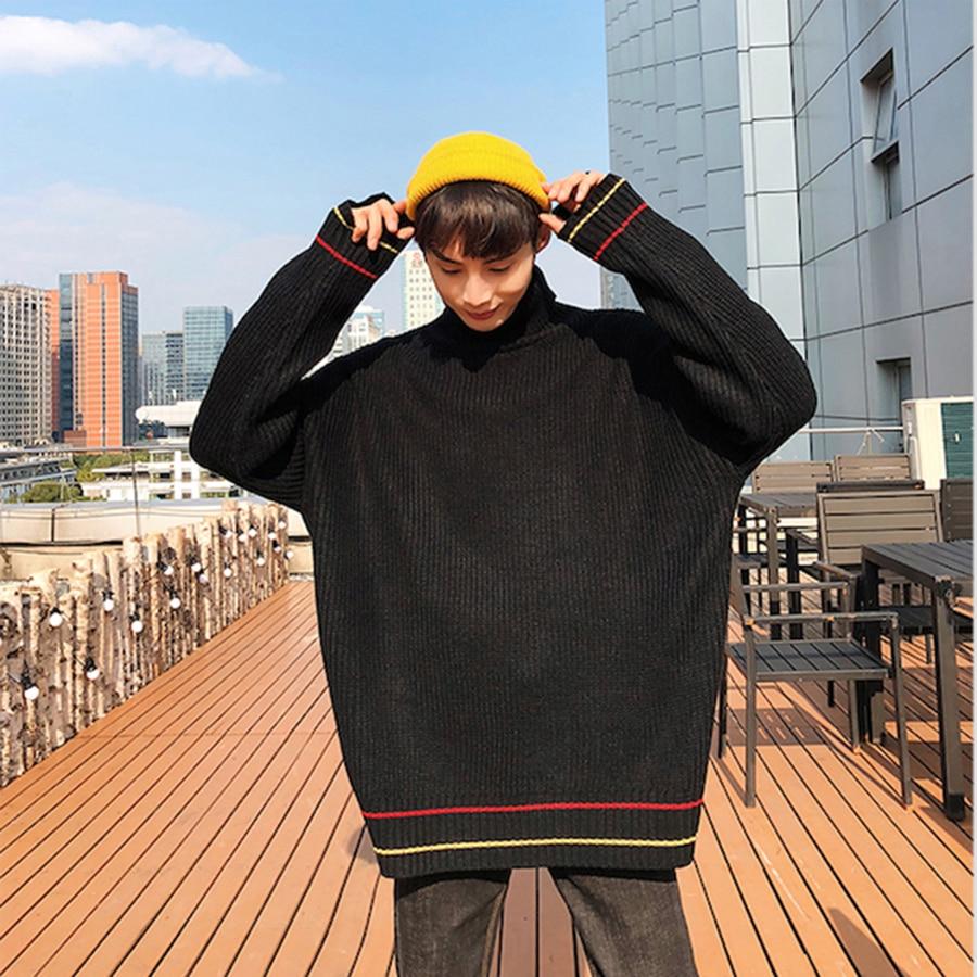 Coréen pull à col roulé hommes surdimensionné Hip Hop solide pulls hommes pull chaud Jersey Hombre Invierno col haut homme tricots