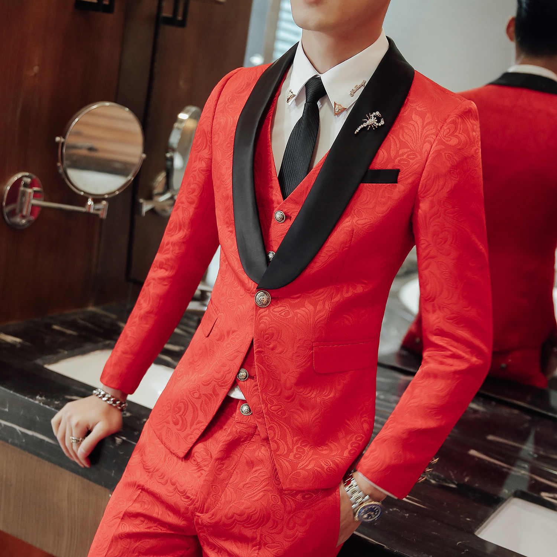 2019 мужской трендовый костюм из трех частей Свадебный банкетный костюм зеленый фруктовый воротник модный тонкий костюм мужской