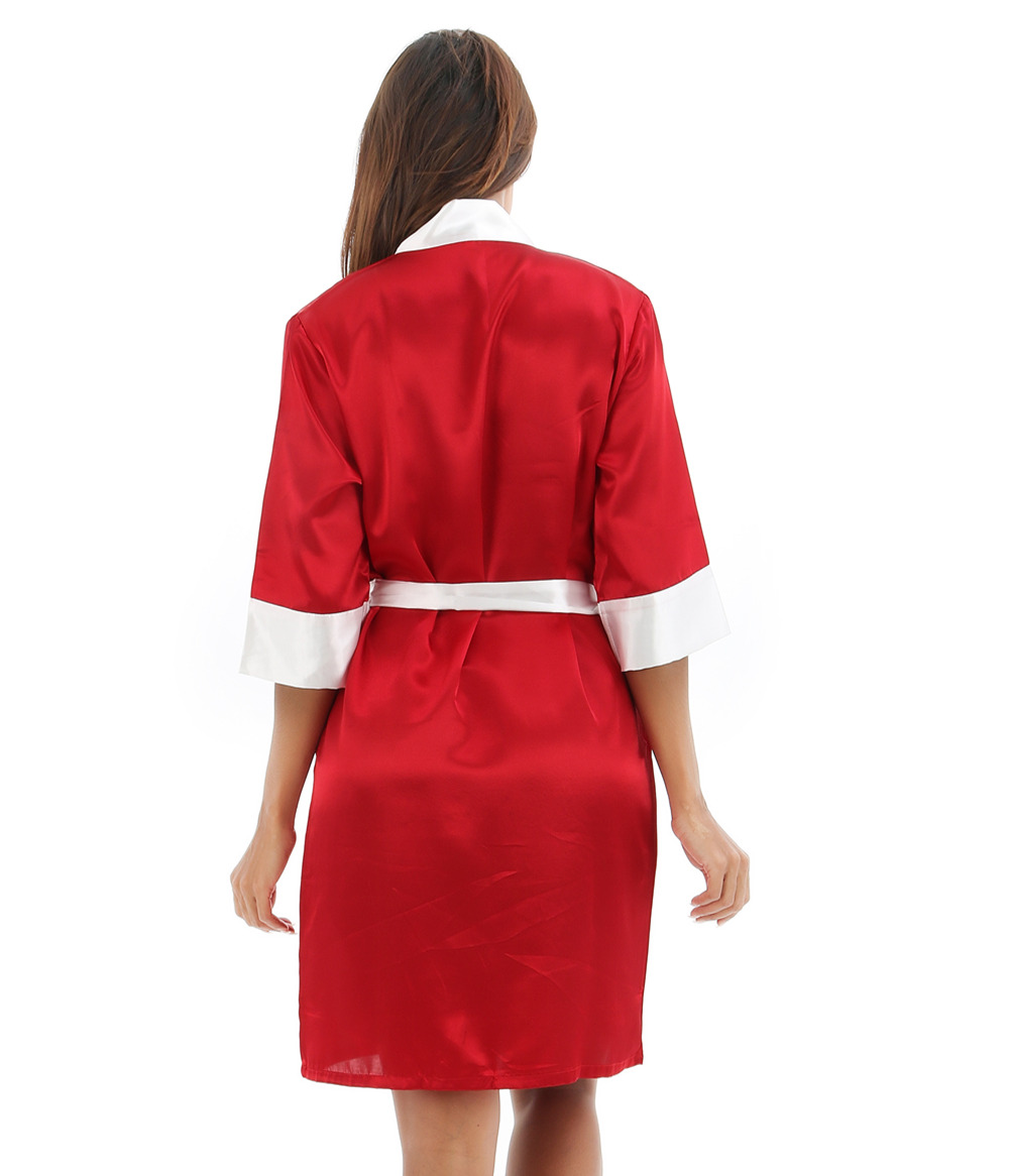 Red Summer Womens Kimono Robe Bathrobe Sleepwear Female Faux Silk Bath Gown Nightgown Pyjamas Mujer Pijama Size S M L XL XXL 020