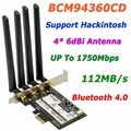 Adaptador Wi-fi BCM94360CD 802.11AC 1750 Mbps Broadcom Gigabit Ethernet PCi-E PCi Express WiFi + Bluetooth v4.0 com 4 * 6dBi antena