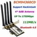 Adaptador Wi-fi BCM94360CD 802.11AC 1750 Mbps Broadcom Gigabit Ethernet PCi-E PCi Express WiFi + Bluetooth v4.0 com 4 * 6dBi antena