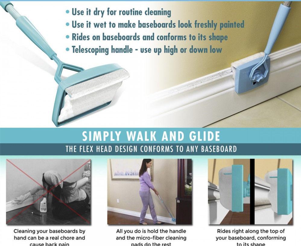 Magic Baseboard Buddy Clean Mop Walk Glide Extendable