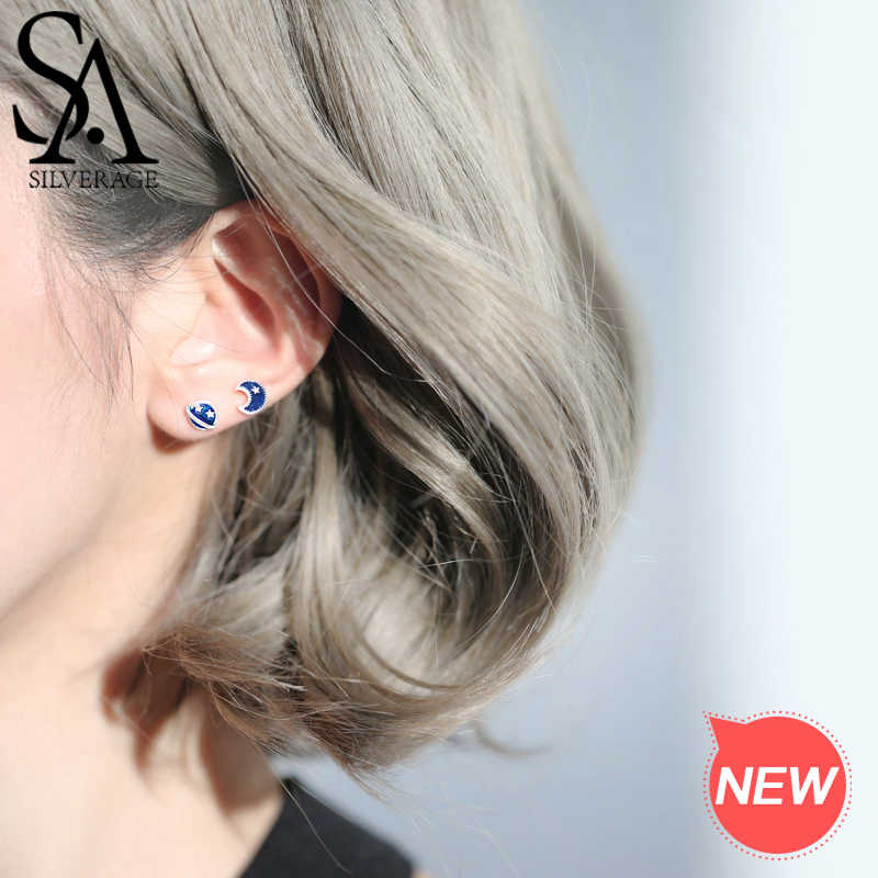 SA SILVERAGE 925 Sterling Silver Star Moon Stud Earring 925 Silver Blue Cosmic Planet Asymmetry Earring Silver/Yellow Gold Color