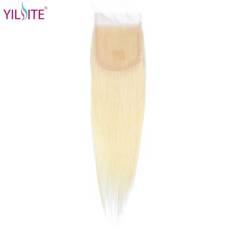 YILITE Blonde #613 Peruvian Straight Human Hair Closure 4*4 Free/middle/three Part Non Remy Swiss Lace 1b/613 Natural Color image