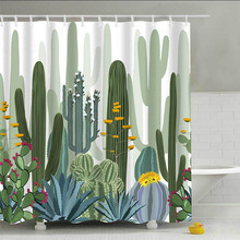 Urijk 180x180 см Зеленые горшечные растения занавески для душа для ванной комнаты водонепроницаемый принт кактус суккуленты занавески для ванной с 12 крючками