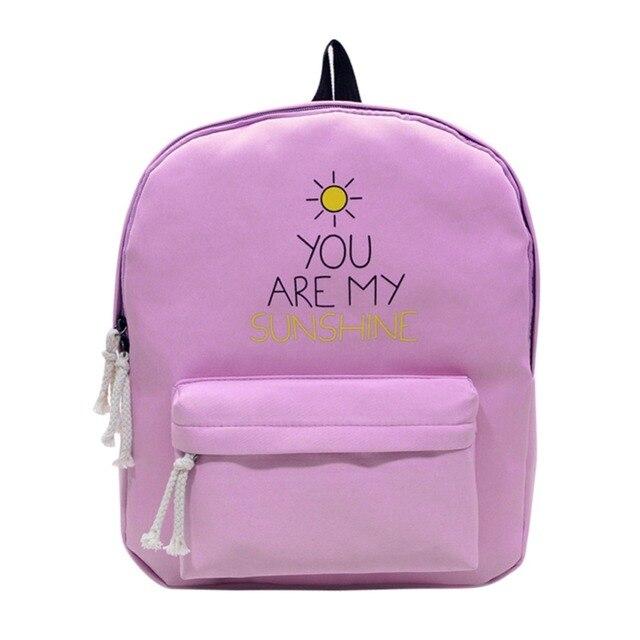 Cute Designer Sunshine Printing Canvas Women Backpack School Notebook Bag  Teens Girl Laptop Rucksack Women Canvas Backpacks 5f8af0aa28470