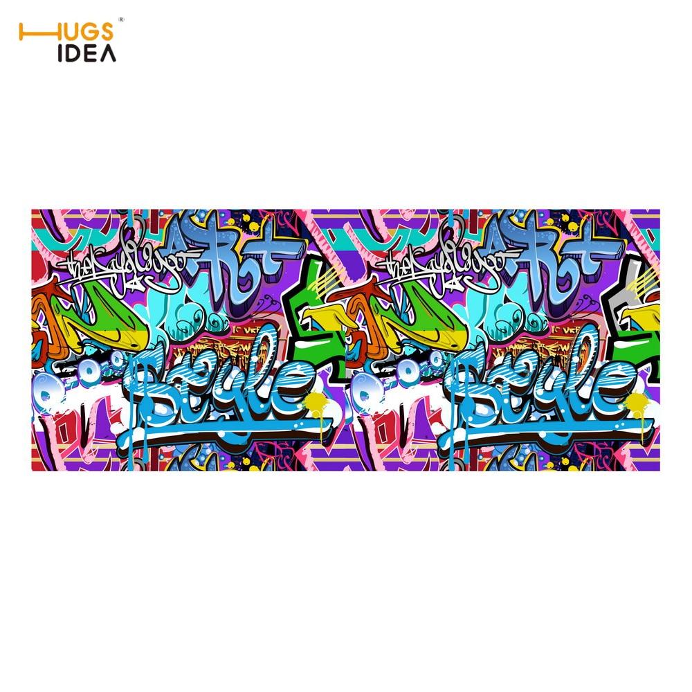 HUGSIDEA Street Graffiti Printing Anti-Slip Stair Carpet Felt Floor Balcony Mat Punk Sty ...