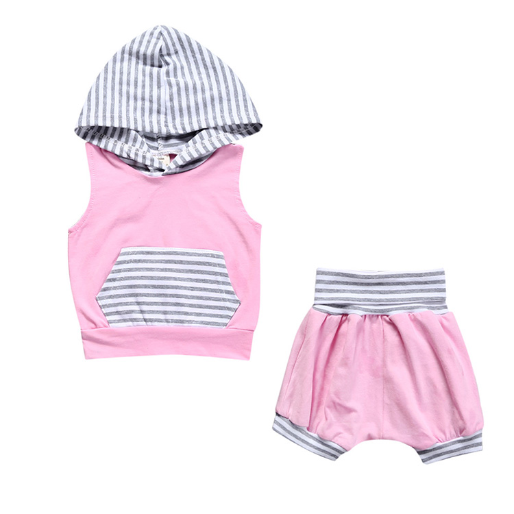 Fashion Summer Baby Toddler Baby Girl Striped T-Shirt Top With Hooded+shorts 2 pcs.Costume Dresses Pink Girls Clothes sets SY241