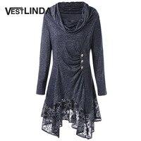 VESTLINDA Plus Size 4XL 5XL Women Casual T Shirts Cowl Neck Floral Longline Top Female Trendy