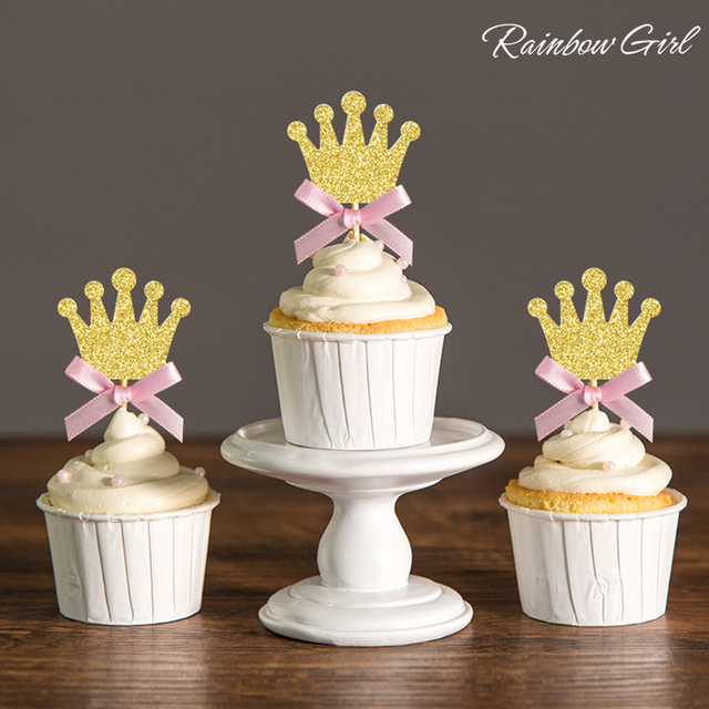 1st Birthday Princess Party Decorations Silver Gold Glitter Pink Bow Crown Cupcake Toppers Royal