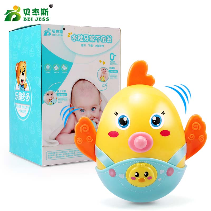 BEI JESS Baby Rattles Chicks Tumbler bell Nodding Roly-poly Teeth Educational Toys for Mobile newborns soft Gift