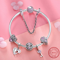 Элитный бренд Для женщин браслет 925 уникальный серебряный розовый сердце прелести браслет для Для женщин DIY бусы Браслеты и браслеты ювелир