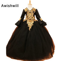 Real Photo Pretty Girls Pageant Dresses for Beauty Princess Tulle With Gold Lace Puffy Ball Gowns Long Sleeve Girls Party Dress