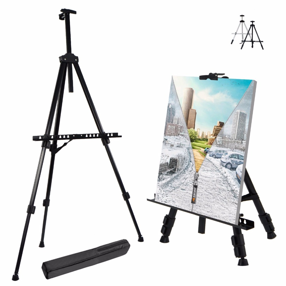 Portable Adjustable Metal Sketch Easel Stand Foldable Travel Easel Aluminum Alloy Easel Sketch Drawing For Artist Art Supplies transon foldable wood easel tabletop easel for artist painting and display sketch easel art supplies