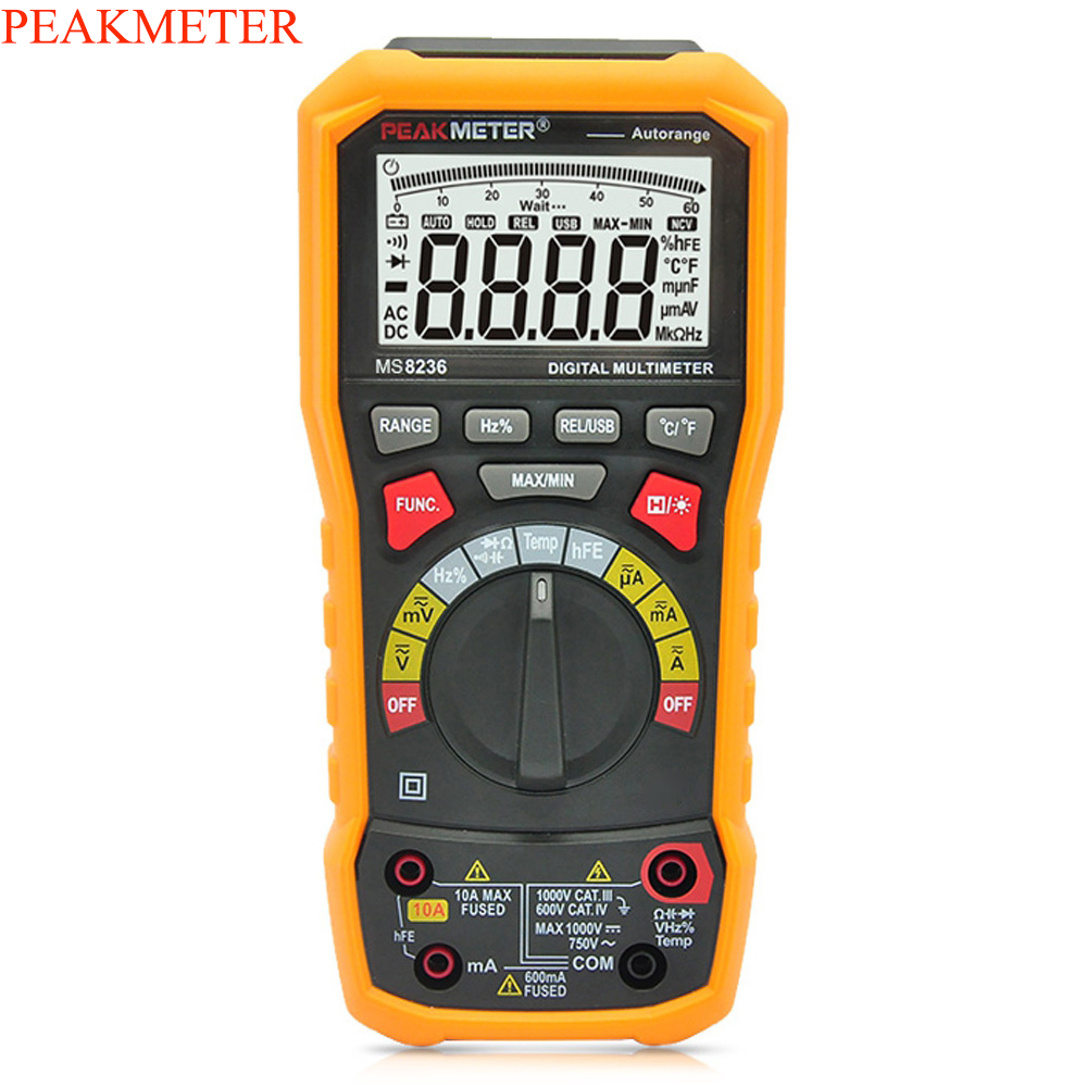 PEAKMETER PM8236 Digital Multimeter Auto manual Range Meter AC/DC Auto Range Multimeter Temperature capacitance frequency Test multimeter test leads digital auto range