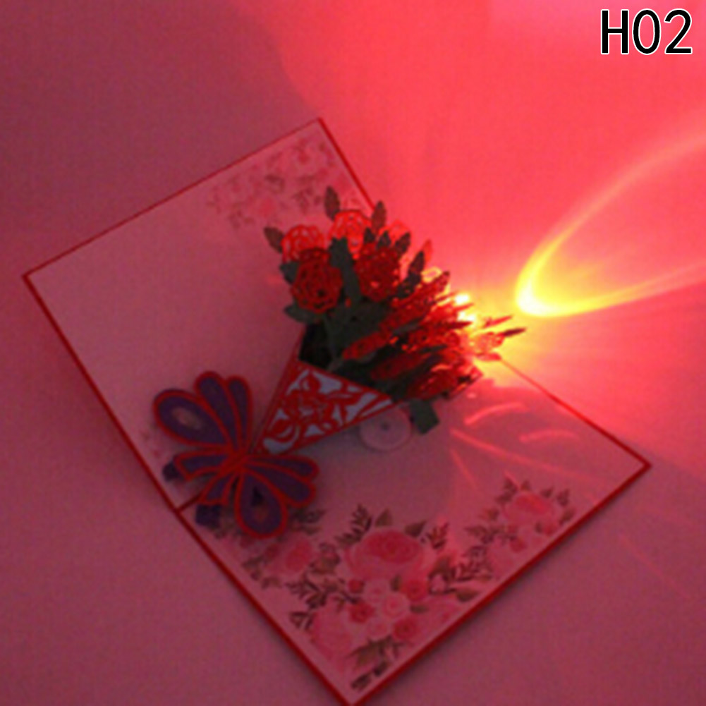 3D Pop Up Greeting Card Postcards Happy Birthday Cake Music LED Lighting Handmade Paper Craft Cards Carving Art Gifts greeting card 3d pop up cards love tree heart valentine lover happy birthday greeting card