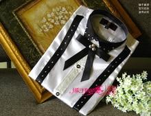 2016 neue Weiß schwarz Patchwork langarm Männer Shirt Hochzeit/Prom Groom Shirts Tragen Bräutigam Mann Party Hemd (39-44)
