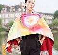 Mulheres inverno cachecol grosso 2015 nova europeu longo grande lenço de seda quente borla impressão frente e verso do cachecol dupla face cachecol xale