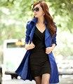 Горячая распродажа новинка женщин тонкий слой женский верхняя одежда средней длины - долго двубортный размер M-3XL бесплатная доставка A414