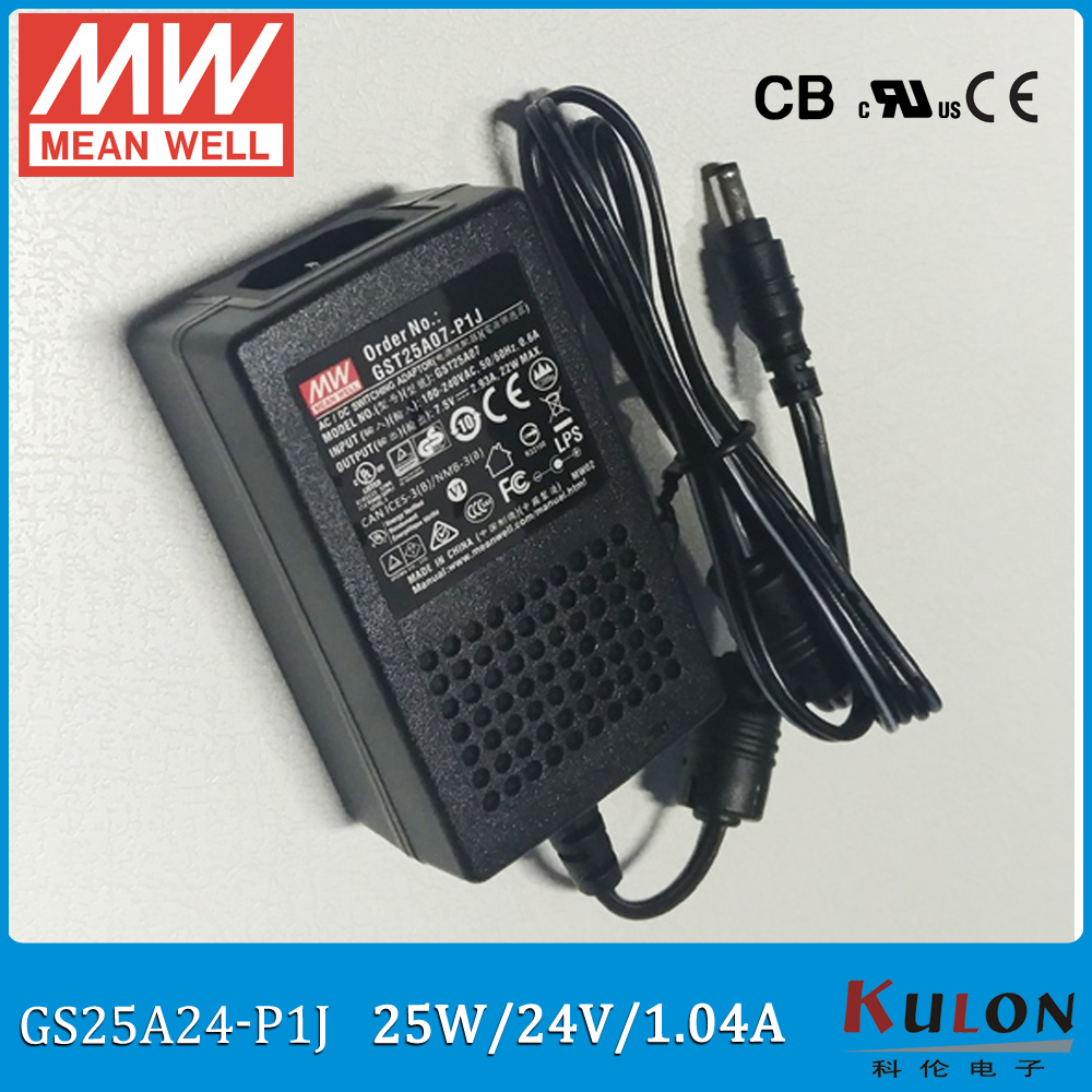 Original Meanwell GST25A24-P1J 25W 24V 1.04A AC/DC Level VI  Meanwell industrial desktop Adaptor Output Interface 5.5mm*2.1mm bourke a rendall j a lion called christian level 4 2cd