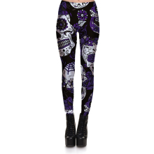 Hot Sell Skull Leggings Women's Skull&flower Black Leggings Digital Print Trousers 7 color skull Woman Stretch Pants Plus Size