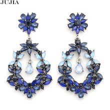 2 colors big lady earring charming chic jewelry women 2019 statement fashion maxi crystal shiny Earrings for women(China)