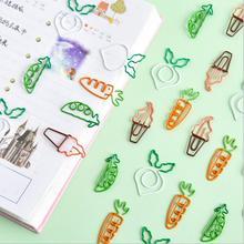 10 шт./лот, креативные, кавайные, Морковные горошины, овощные, зажим для бумаги, милые металлические закладки, декоративные зажимы для файлов, канцелярские принадлежности