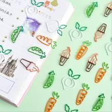 10 pçs/lote Kawaii Criativo Cenoura Ervilha Vegetais Arquivo Clips Memorando de Papelaria Clipe De Papel Bonito Marcador de Metal Decorativo