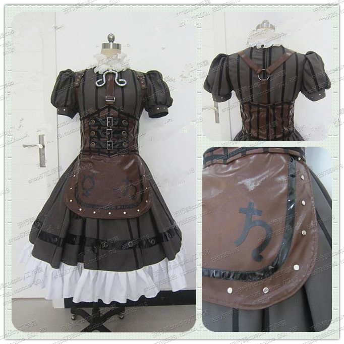 Alice Madness Returns Alice Steampunk Leather Maid Dress Cosplay Costume Halloween costume alice madness returns heroine alice cosplay costume black white striped customized anime uniform