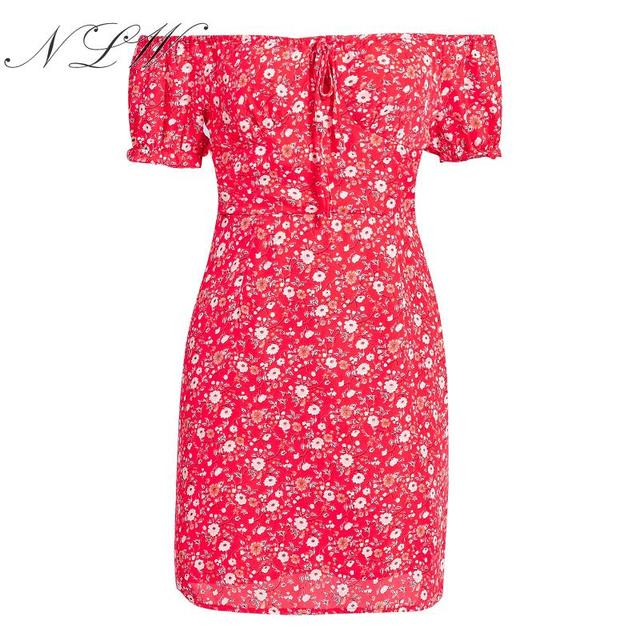 Lace Up Print Floral Red...