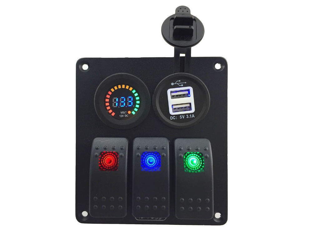 DC12V 24V Double USB 3 1A Power Outlet Charger Socket DC 12V voltmeter 3 Gang red blue green Rocker Switch Panel for Marine in Car Switches Relays from Automobiles Motorcycles