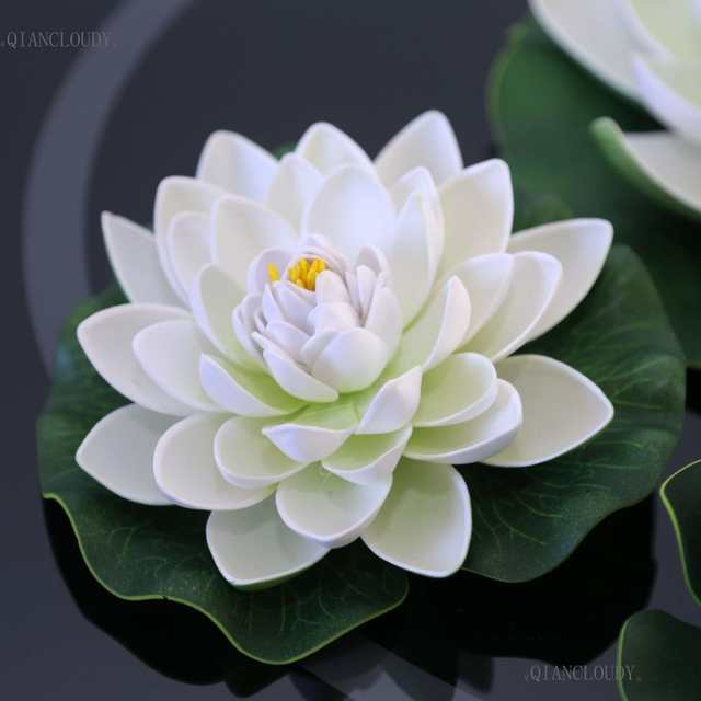 US $0 6 |Artificial WHITE Lotus Leaves flowers Water ponds lotus leaf fake  Lily Floating Pool home garden Plants Wedding D24-in Artificial & Dried