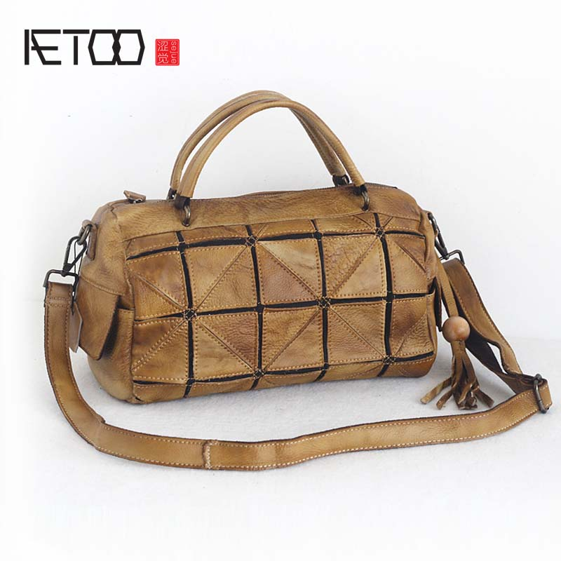 AETOO 2017 autumn and winter new original leather handmade handbags patchwork first layer of leather messenger bag women aetoo spring and summer new leather handmade handmade first layer of planted tanned leather retro bag backpack bag