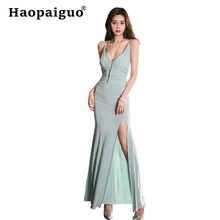 S-XL Large Size High Split Sexy Party Dress Women V-neck Sleeveless Bodycon Wrap Dress Women Solid Casual Long Dresses Ladies недорого